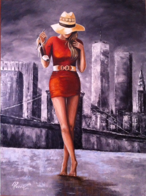 N° 89 Woman in Red 60x80 olio su tela anno 2014